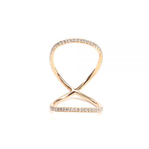 K18ピンクゴールド ダイヤモンド関節リング0.4CT