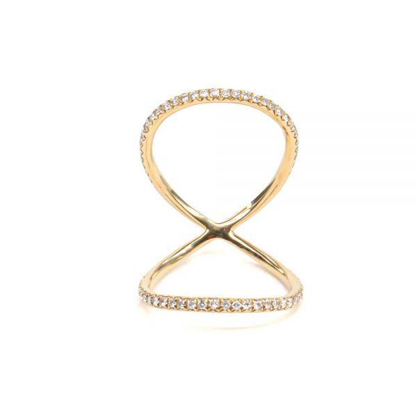 K18イエローゴールド ダイヤモンド関節リング0.4CT