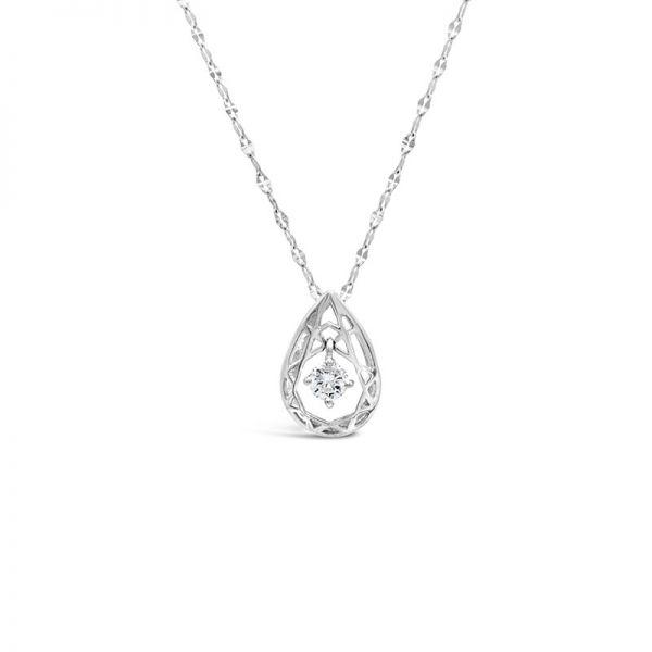 K18ホワイトゴールド ドロップモチーフダイヤモンドペンダント 0.07CT