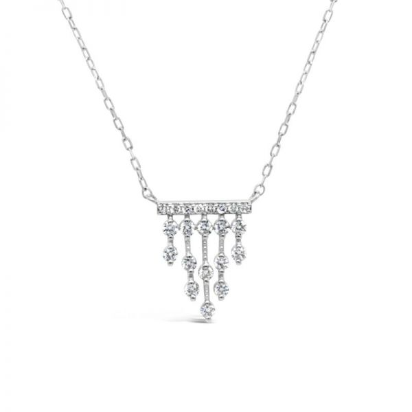 K18ホワイトゴールド ダイヤモンドデザインペンダント 0.22CT