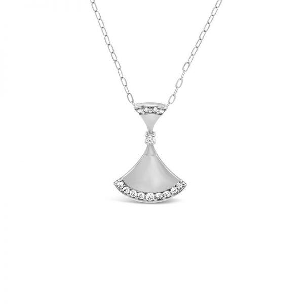 K18ホワイトゴールド ダイヤモンド扇型ネックレス 0.08CT