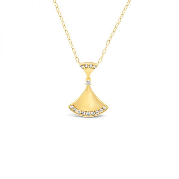 K18イエローゴールド ダイヤモンド扇型ネックレス 0.08CT