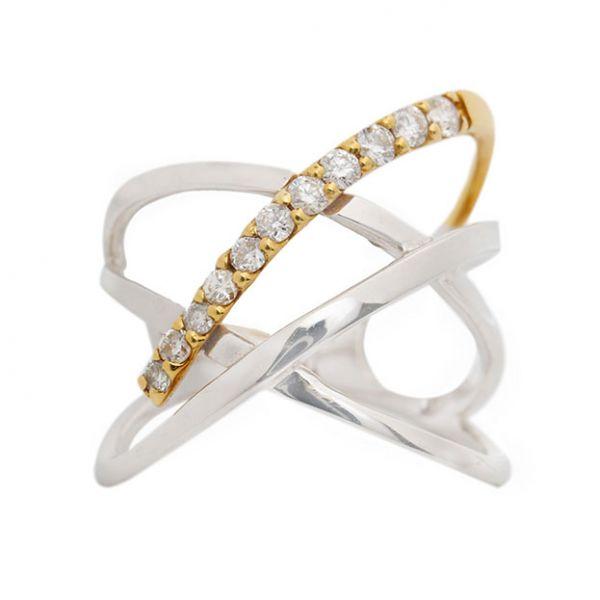 K18ホワイトゴールド・イエローゴールド ダイヤモンドデザインリング0.2CT