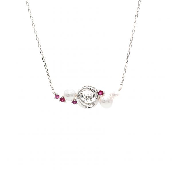 Swing Diamond, Ruby & Pearl Pendant in White Gold k18