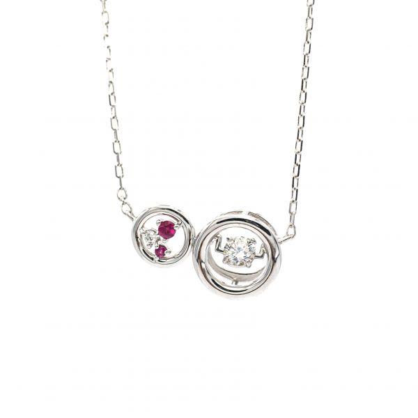Swing Diamond,Ruby & Pearl Pendant in White Gold k18