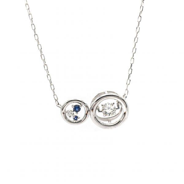 Swing Diamond,Sapphire & Pearl Pendant in White Gold k18