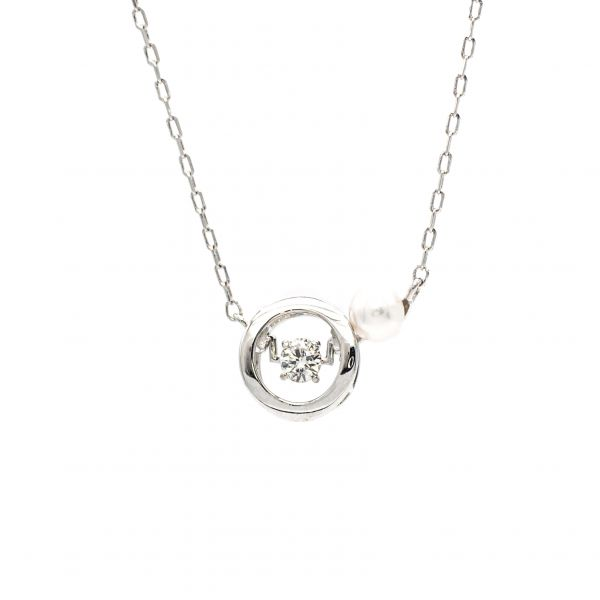 Swing Diamond Pendant White Gold k18 Akoya Pearl
