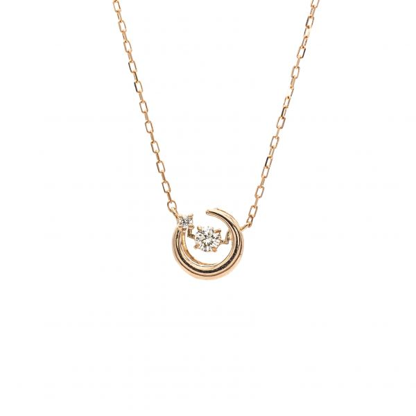 Swing Diamond Pendant in Pink Gold k18 Half Moon Design