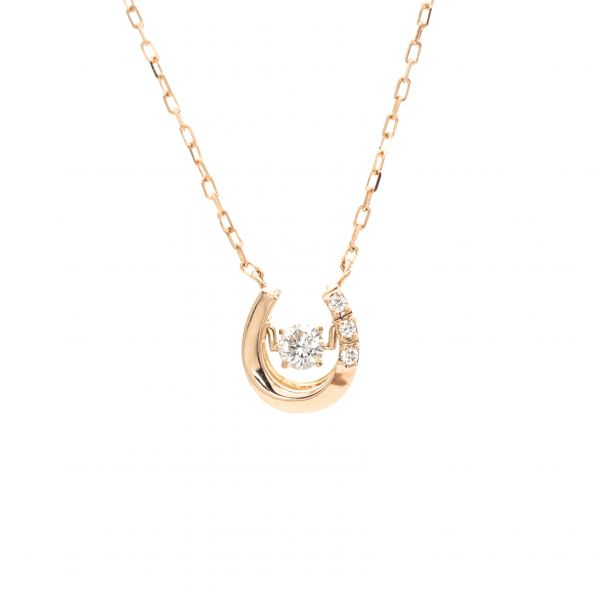 Swing Diamond Horse Shoe Design Pendant Pink Gold k18