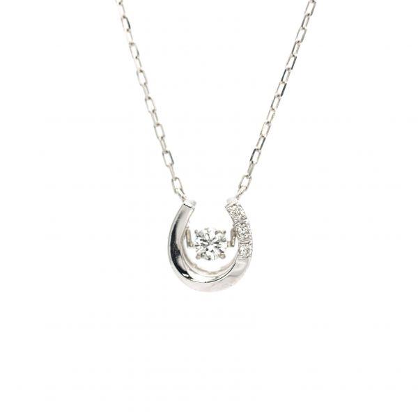 Swing Diamond Horse Shoe Design Pendant White Gold k18