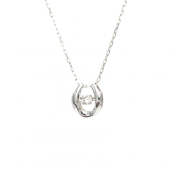 Swing Diamond Horse Shoe Design Pendant White Gold - k18