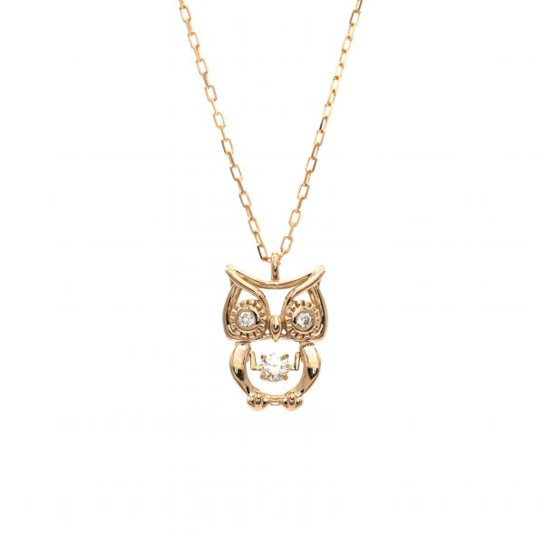 Owl Design Swing Diamond Pendant in Pink Gold k18.