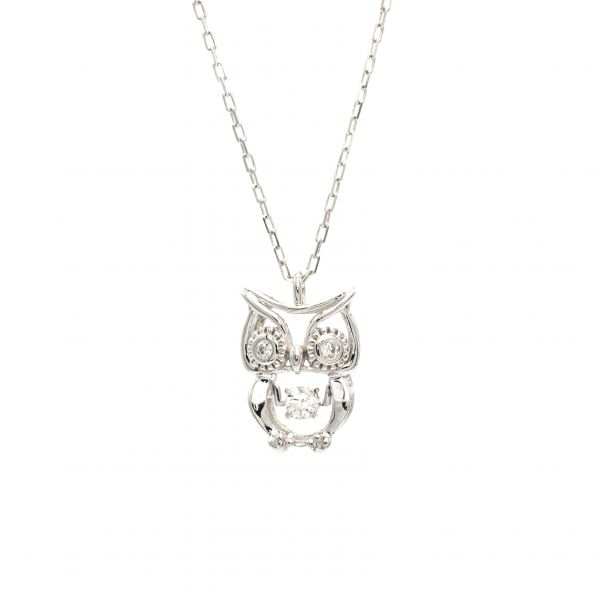 Owl Design Swing Diamond Pendant in White Gold k18.