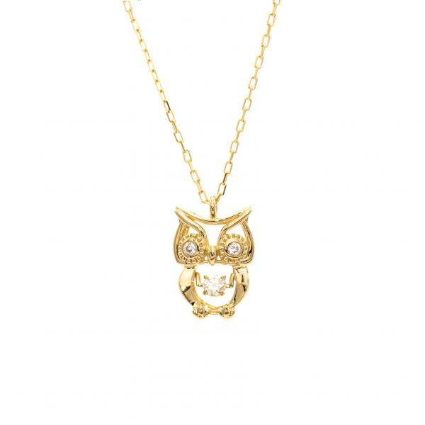 Owl Design Swing Diamond Pendant in Yellow Gold k18.