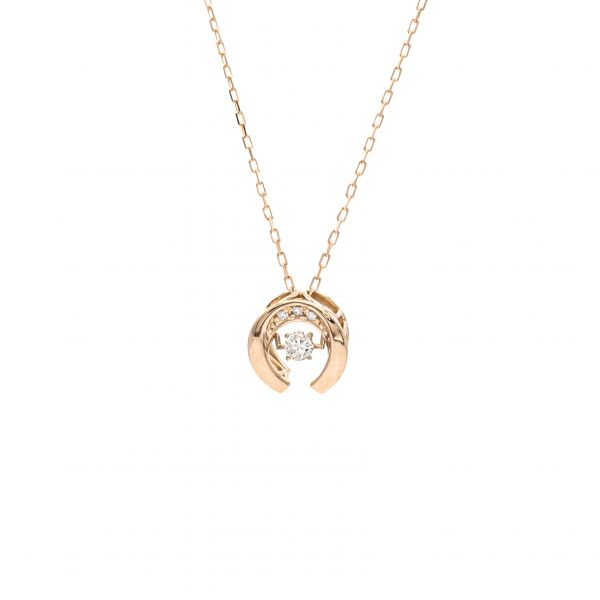 Swing Diamond Horse Shoe Design Pendant Pink Gold - k18