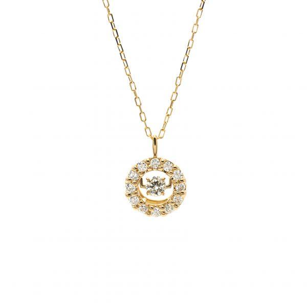 Swing Diamond Pendant Yellow Gold k18