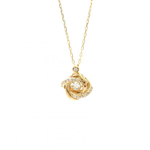 Swing Diamond Pendant Yellow Gold k18