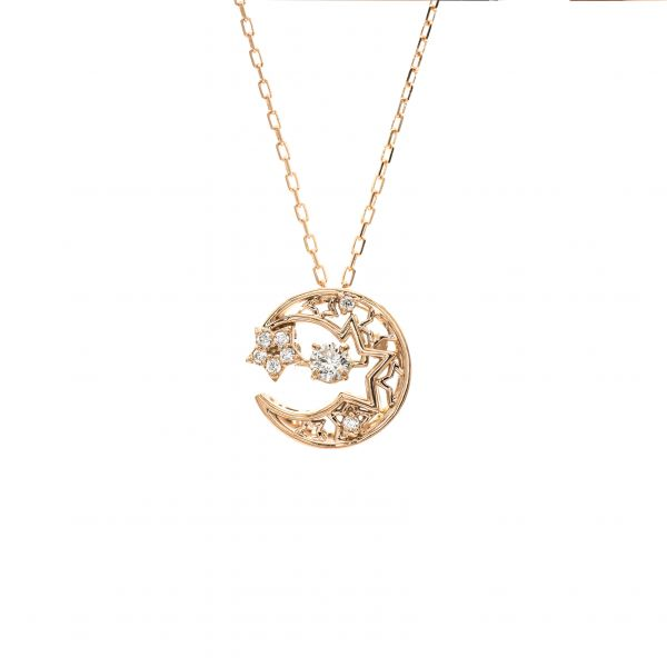 Swing Diamond Pendant Pink Gold k18 Moon & Star Design.