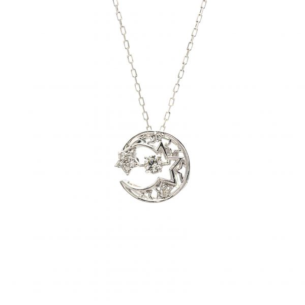 Swing Diamond Pendant White Gold k18 Moon & Star Design.
