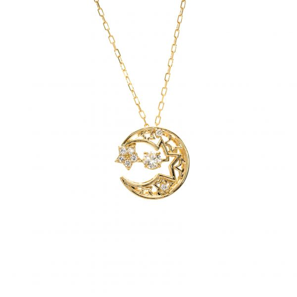 Swing Diamond Pendant Yellow Gold k18 Moon & Star Design.