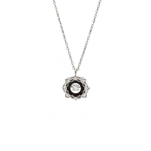 Swing Diamond Pendant in Platinum with Black Rodhium.